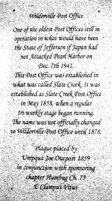Wilderville Historic Plaque