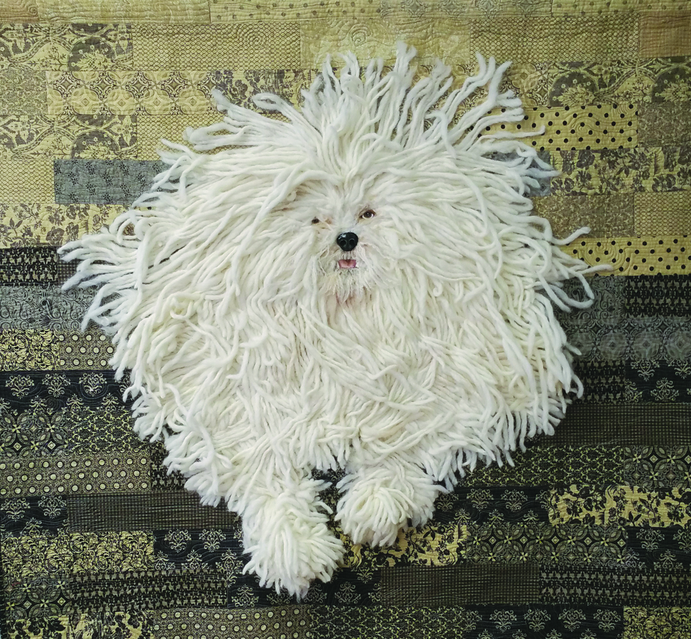 Fabulous Hand-crafted Fiber Art Doggie created by Marlene Ludlow